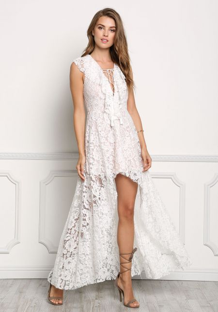 White Laced Hi-Lo Lace Up Maxi Dress