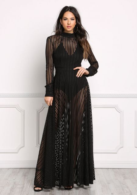 Black Stripe Mesh Open Back Maxi Gown