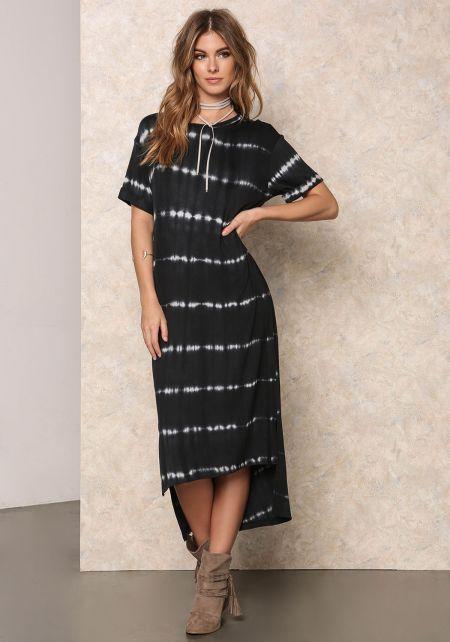 Black Tye Dye Hi-Lo Midi Dress