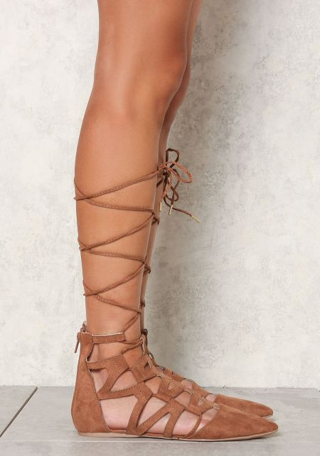 Camel Suedette Cut Out Lace Up Flats