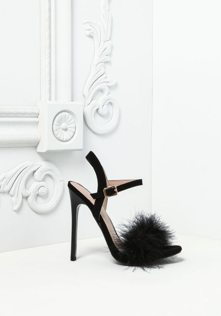 Black Feather Fluff Heels