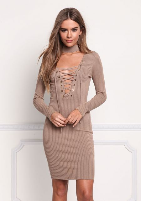 Mocha Choker Lace Up Plunge Bodycon Dress