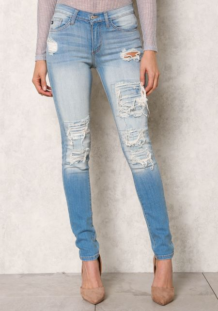 Shred Washed Cut Out Skinny Jeans