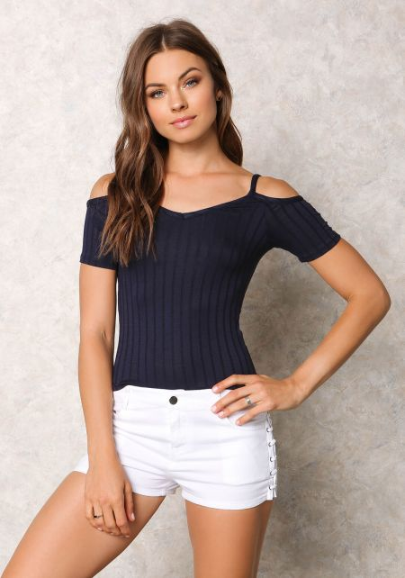Navy Ribbed Knit Cold Shoulder Top