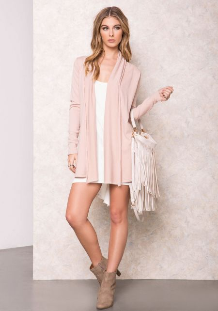 Dusty Pink Draped Soft Cardigan