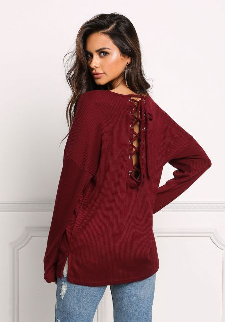 Wine Back Lace Up Ribbed Knit Top