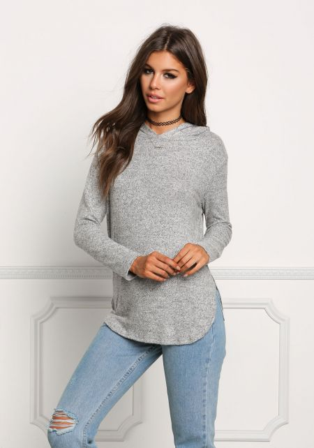 Heather Grey Soft Hooded Knit Top