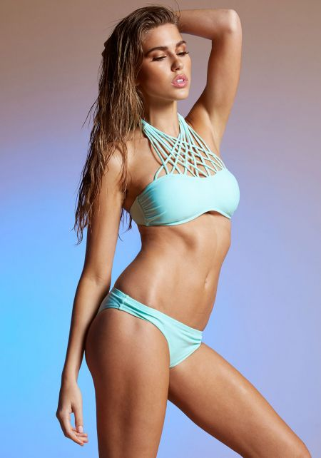 Mint Criss Cross Neck Bikini Set