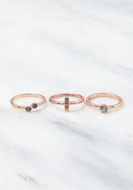Rose Gold Rhinestone Rings Set