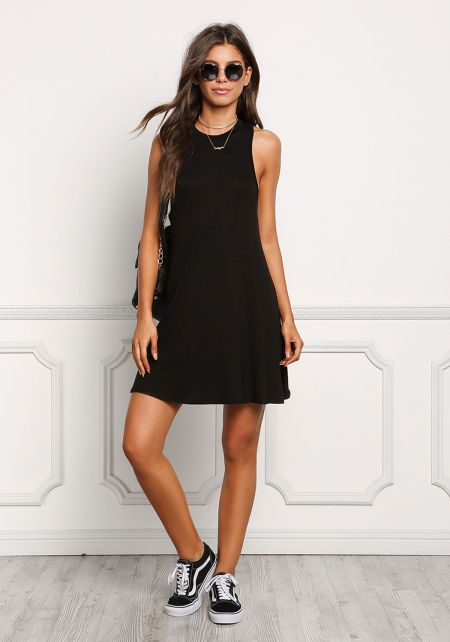 Black Jersey Knit Tank Shift Dress