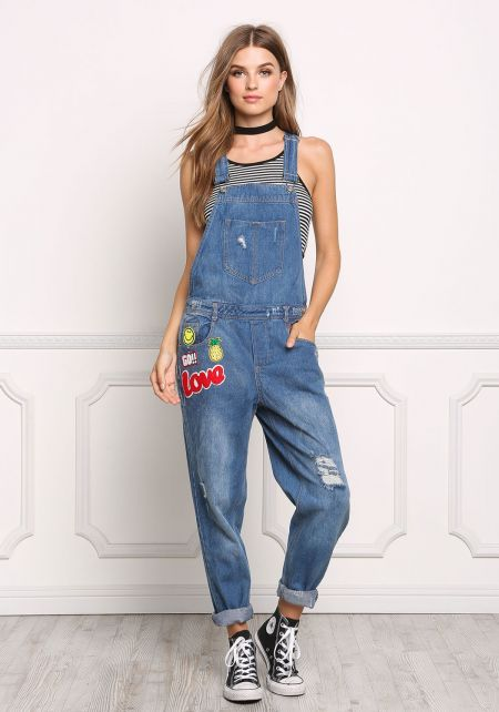Medium Denim Patched Overalls