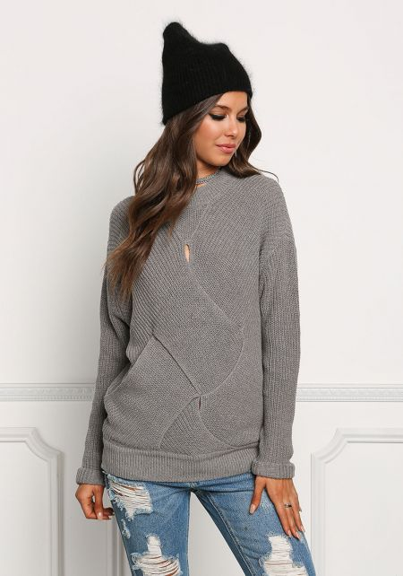 Heather Grey Cross Over Cut Out Sweater Top