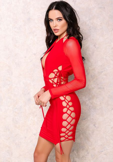 Red Hot Sheer Lace Up Bodycon Dress