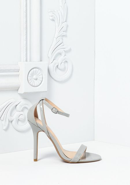 Light Grey Leatherette Thin Ankle Strap Heels