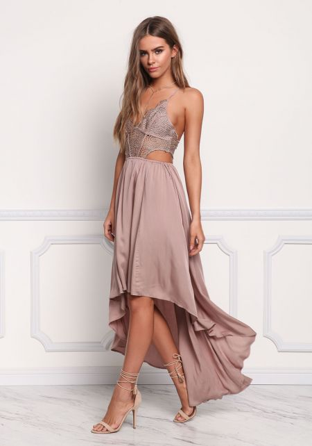 Mauve Embroidered Hi-Lo Maxi Dress