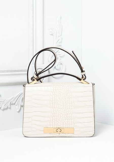 Beige Textured Leatherette Square Crossbody Bag