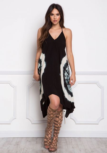 Black Marble Tie Dye Cross Strap Midi Dress