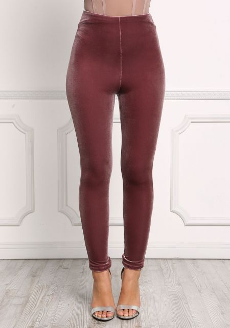 Mauve High Rise Velvet Pants