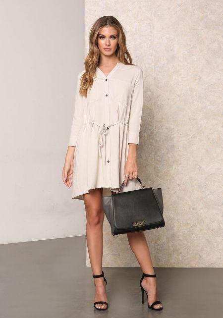 Taupe Drawstring Blouse Dress