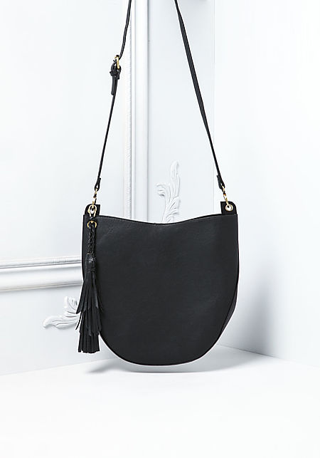Black Curved Leatherette Crossbody Bag with Pouch