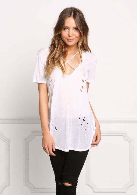 White Cross Strap Distressed Knit Tee