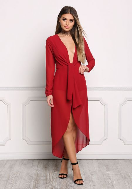 Dark Red Plunge Faux Wrap Chiffon Dress