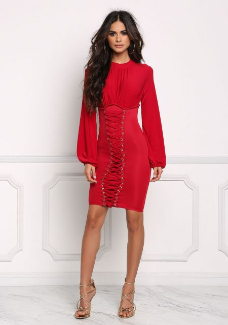 Red Lace Up Corset Bodycon Dress