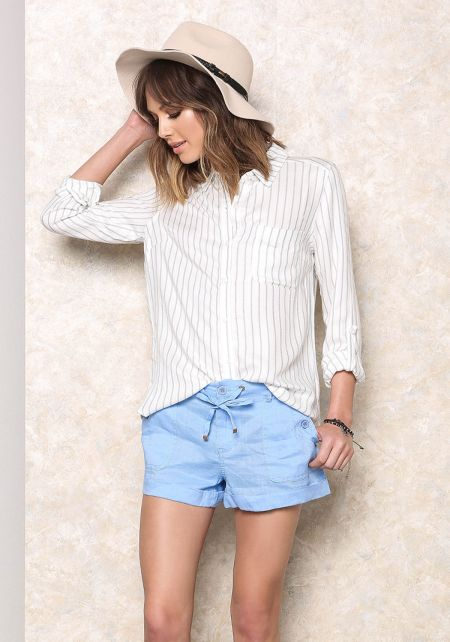 Blue Button Trim Linen Shorts