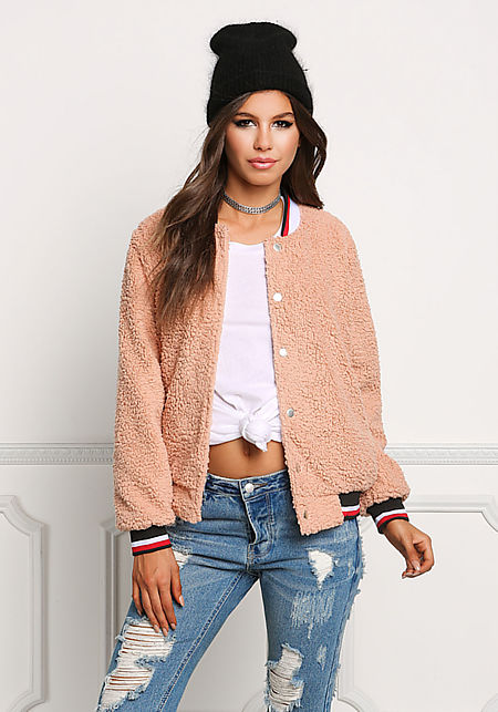 Dusty Pink Soft Faux Fur Bomber Jacket