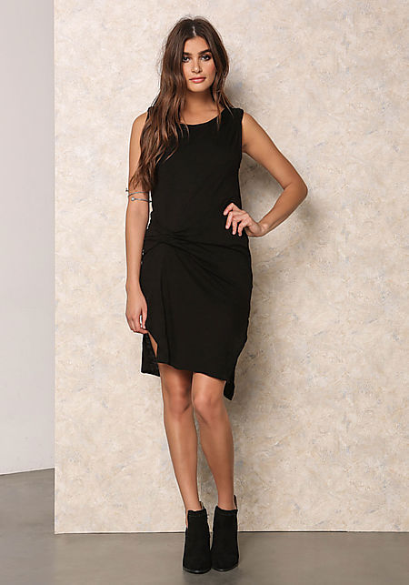 Black Jersey Knit Ruched Slit Dress