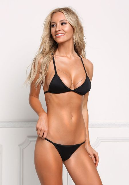 Black Low Rise Swimsuit Bikini Bottom