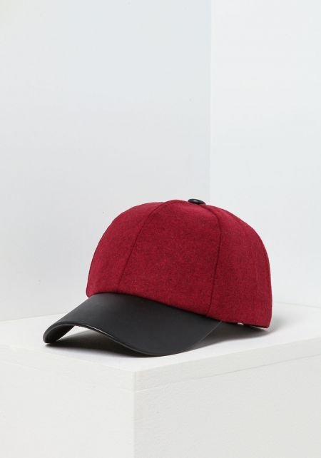 Burgundy Leatherette & Wool Baseball Cap