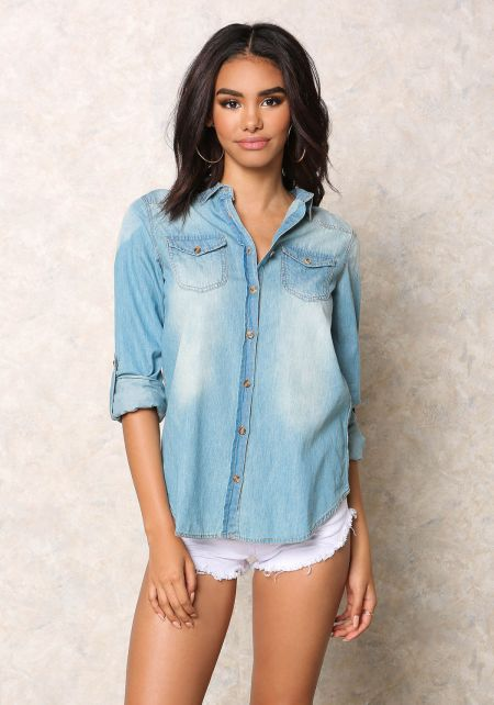 Denim Button Up Blouse