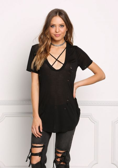 Black Cross Strap Distressed Knit Tee