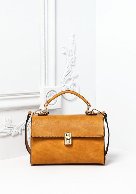Mustard Vegan Leatherette Mini Satchel Bag