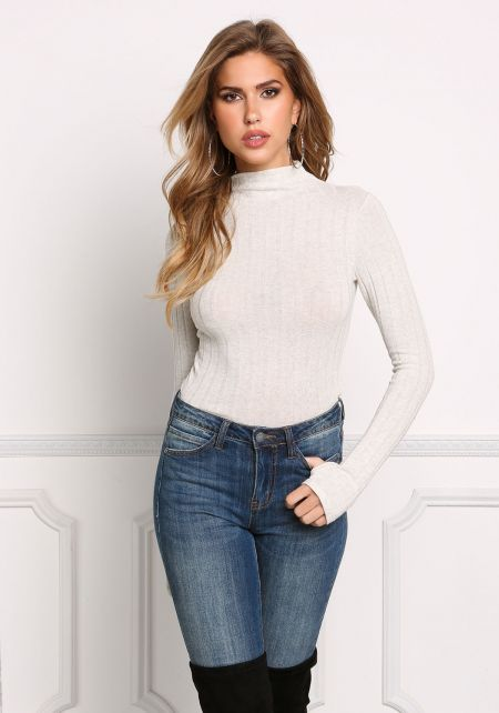 Cream Ribbed Knit Long Sleeve Top