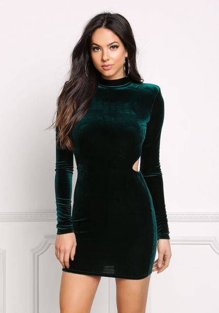 Hunter Green Open Back Velvet Bodycon Dress
