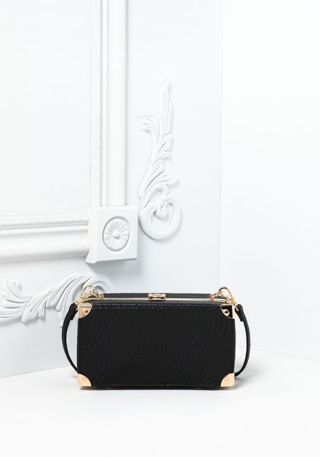 Black Textured Leatherette Chest Crossbody Bag