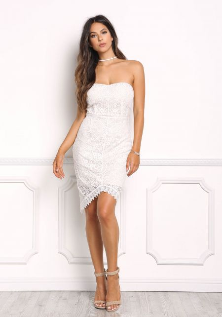 Ivory Lace Strapless Bodycon Dress