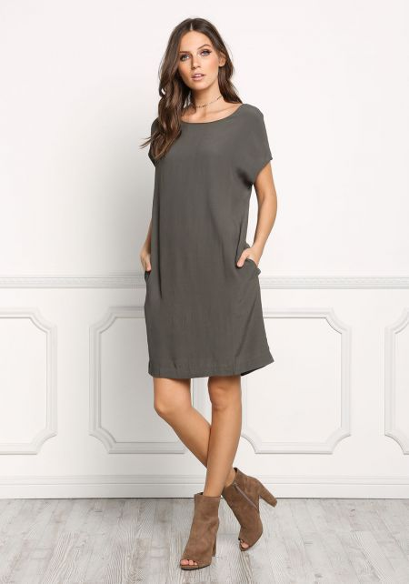 Olive Pocket Front Shift Dress