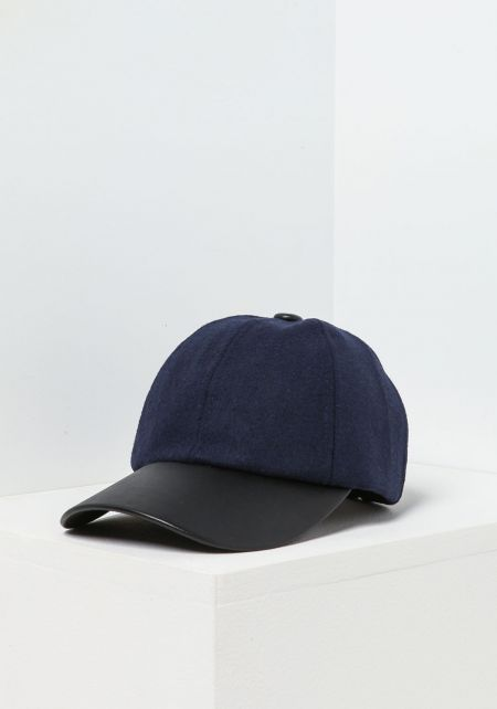 Navy Leatherette & Wool Baseball Cap