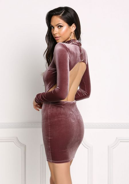 Mauve Open Back Velvet Bodycon Dress
