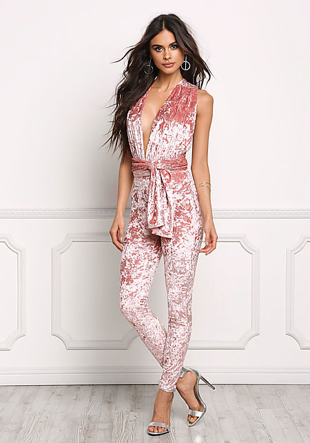 Mauve Crushed Velvet Multi Wrap Jumpsuit