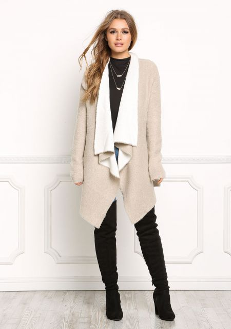 Taupe Soft Knit Pointed Cardigan