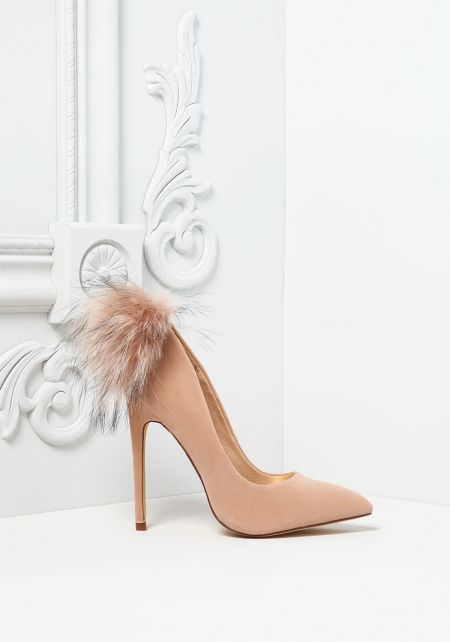 Nude Pom Pom Pointed Toe Heels
