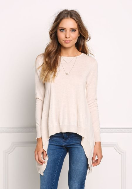 Ivory Pointed Pullover Sweater Top