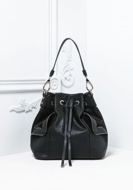 Black Leatherette Drawstring Zipper Trim Tote Bag