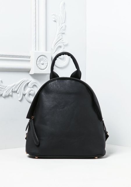 Black Leatherette Chain Strap Backpack