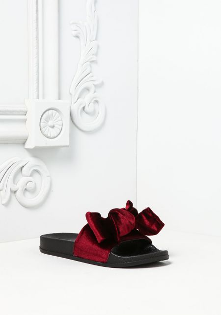 Wine Bow Velvet Slide Sandals