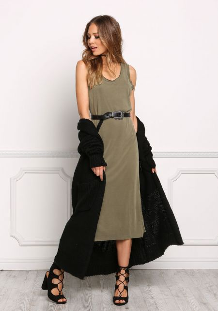 Olive Jersey Knit Tank Shift Dress